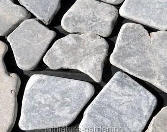 Mosaic Stepping Stones, Gray, 18 Pieces for Miniature Garden, Fairy Garden