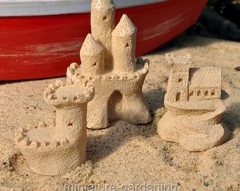 Sandcastle Sculptures, Set of 3 for Miniature Garden, Fairy Garden