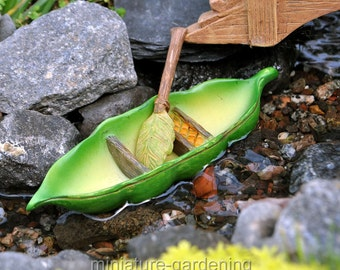 Pea Pod Canoe for Miniature Garden, Fairy Garden