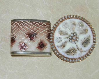 """Antique Shank Buttons, Round Floral And Square, 1"""" and 7/8"""""""