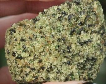 Raw Green Peridot in Matrix from Arizona Rock Crystal Mineral Specimen