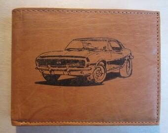 """Mankind Wallets Men's Leather RFID Blocking Billfold w/ """"1968 Chevrolet Camaro SS/RS"""" Image~Makes a Great Gift!"""