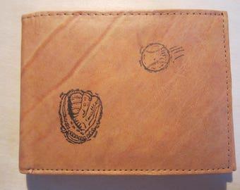 "Mankind Wallets Men's Leather RFID Blocking Billfold w/ ""Baseball and Catcher's Mitt"" Image~Makes a Great Gift!"