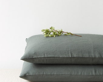 Set of 2 Forest Green Stone Washed Linen Pillow Cases