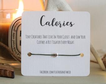 Calories star bracelet - wish bracelet, diet support - WHITE LINEN CARD