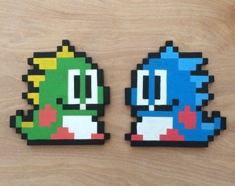 Bubble Bobble characters wooden pixel wall art - Wall Decor