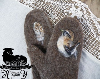 """Felted wool mittens . Mittens made of felt with a picture. Winter mittens.""""Sparrow and feather"""""""