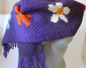 Vintage Wool Scarf, Knit Handmade Scarf, Frantic Wool Scarf,  Scarf  with Flowers,  Made in Ecuador