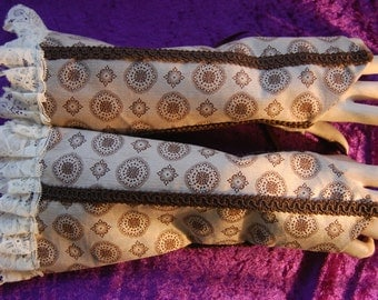 Steampunk arm warmer sleeves brown patterned cord. Lace up.