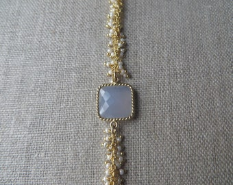 Pearl and Gold Fringe Bracelet with Blue Calcedony