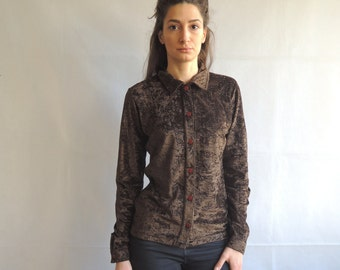 Vintage Brown Velvet Long Sleeve Button Up Blouse