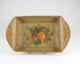 Antique Toleware Bread Tray, Victorian Hand Painted Folk Art