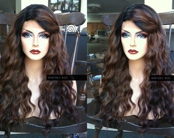 U.S.A. // Wavy Heat OK Ombre Auburn BROWN Lace Front & PART Wig w/ Curly Kinky Black Dark Roots