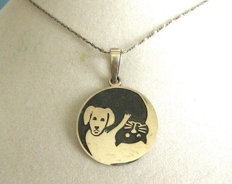 Sterling Silver Yin Yang Dog Cat Necklace