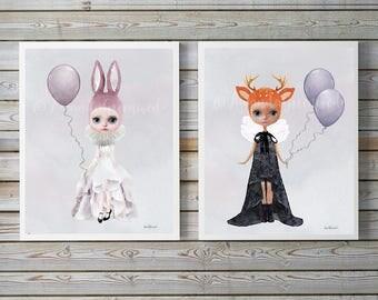 Set of 2 Miss Lily & Miss Ruby by Amanda Greenwood, watercolor nursery wall art, gray, deer, bunny, muted,nursery prints, baby girl, nursery