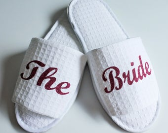 Personalized SLIPPERS Bride Bridesmaid Hen Party I do Just Married Slippers flip flops