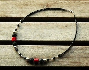 NEW: Pearl Necklace with sterling silver chain, coral and lava black red silver,.
