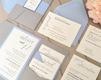 Pale Blue And Gray Wedding Invitations Dusty