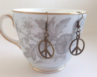 Peace Earrings - Peace Symbol Jewelry - Peace Symbol Earrings
