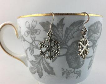 Winter Snow Flake Earrings - Hook or Clip On