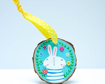 Hand painted Easter Bunny Decoration