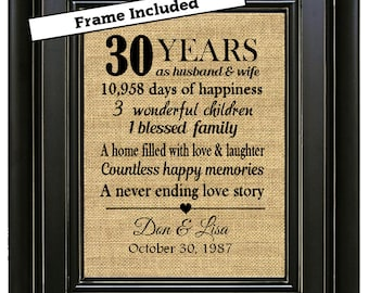 FRAMED Personalized 30th Wedding Anniversary Gift/30th Anniversary Gifts/30th Wedding Anniversary Gifts/Pearl Anniversary/Gift for Parents