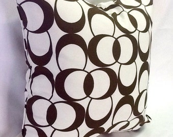 SALE Modern Circles Pillow Cover - SALE - 20 Inch - Decorative Throw Pillow - Dark Brown White - Ready to Ship