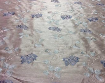 Fabric - By the Yard - Upholstery, Drapery, Craft, Sewing - Embroidered Faux Silk - Beige Blue Mint Green
