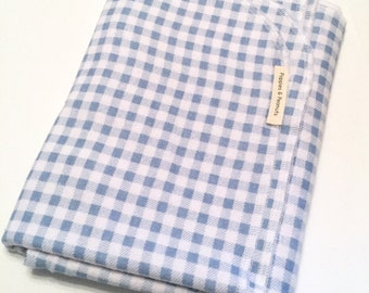 Light blue and white gingham flannel baby blanket - Xl -infant -personalize - baby boy