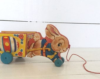 1958 Fisher Price Running Bunny Cart wooden pull toy -easter -rabbit -vintage decor -#311