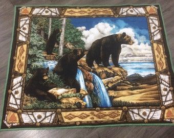 Handmade Woodland Bears and Cubs Quilted Throw with Brown Fleecy Backing