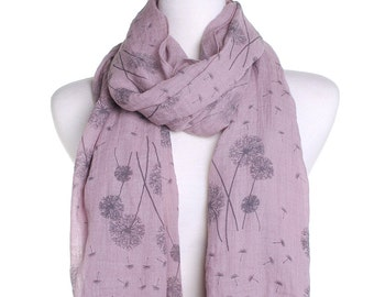 Dandelion Rose Pink Scarf / Spring Summer Scarf / Autumn Fall Scarf / Womens Scarves / Handmade Birthday Christmas Idea / Gift For Her