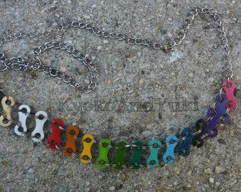 Colorful Rainbow Bicycle Chain Link Handmade Necklace Bicycle Jewelry