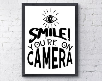 Funny bathroom wall art, PRINTABLE instant download. Smile You're On Camera. Fun home decor