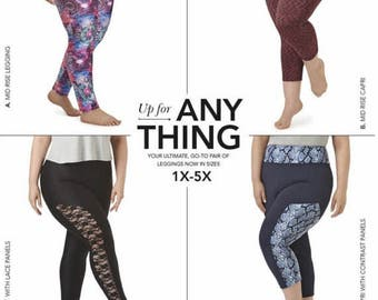 Women's Knit Leggings, Simplicity Pattern 8327, or D0648, ankle or cropped length, contrast side panels, Sz 1X - 5X, 22w to 40w, UN-CUT