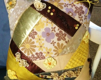 Decorative Pillow, One of a Kind, Crazy Quilt style, Gold, Yellow, Brown, 12x12, Pillow #19