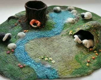 Waldorf Play Mat Large 3D Nature Season Table Playmat Landscape Playscape  Play-mat Pretend field tree trunk stream pebbles cave pond fox