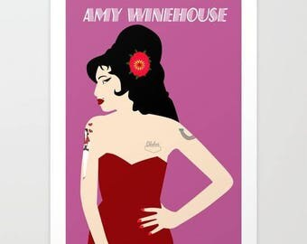 Amy Winehouse art print-Pin up-Tattoos-Music lover poster-Large Retro print-Rock and roll poster-Pop art Decorative Print-Cool illustration