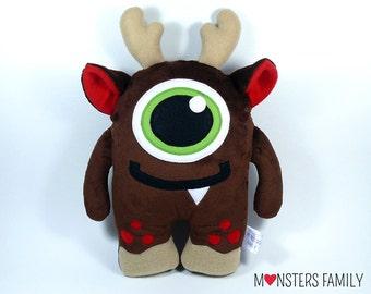Stocking Stuffer Christmas Gift For Baby Gift For Her Gift For Him Monster Reindeer Plush Toy Stuffed Animal Monster Nursery Toy Pillow