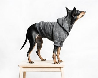 Dog / cat Hoodie - Dark grey -  Handmade pet clothes - Ideal for dogs,  puppies and cats - Keep your pets warm and looking awesome