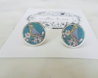 Wooden painted bird stud earrings