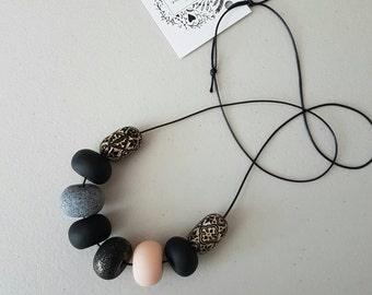 Clay necklace - Black granite and flesh clay bead necklace, for her, gift for her, birthday gift, beaded necklace, clay jewelry