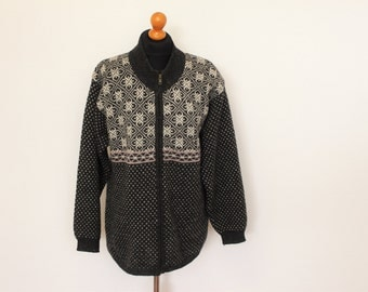 Scandinavian Wool Sweater  INTOWN Winter Patterned Jumper Swedish Sweater  Norwegian Traditional Cardigan Large Size