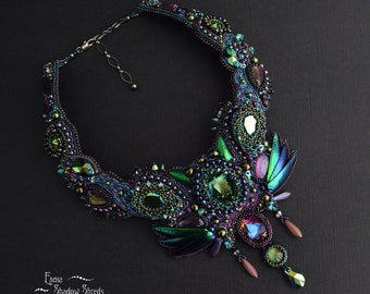 """Beadwork necklace """"Chameleon"""" Bead embroidered necklace Beaded Necklace Beaded jewelry Green Beetle elytra Beetle wing"""