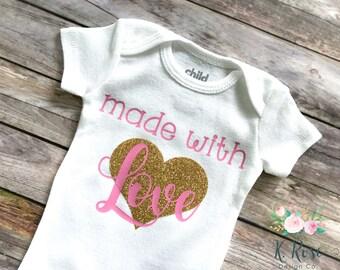 Made With Love Bodysuit, Baby Girl Bodysuit, Pink & Gold Baby Clothing, Made With Love, Baby Shower Gift