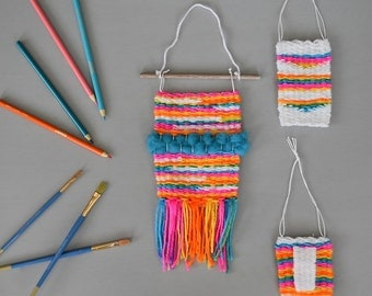 Set of 3 Mini Woven Wall Hangings, Rainbow and White