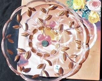Round Glass Serving Platter Dish - Noritazhe Soga of Japan - Copper Colored Cut Leaf Design in Original Box