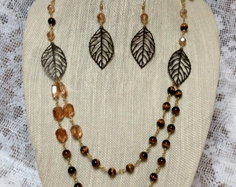 fall leaf necklace and earring set