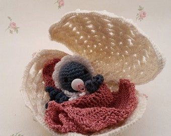 Amigurumi Babypus in the shell unique!