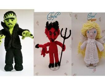Amigurumi Angel, Devil, or Frankenstein's monster incl stand